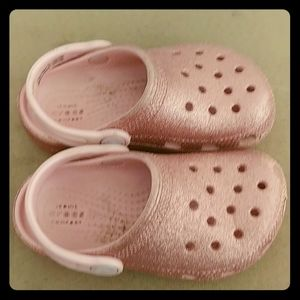 Pink glitter Crocs